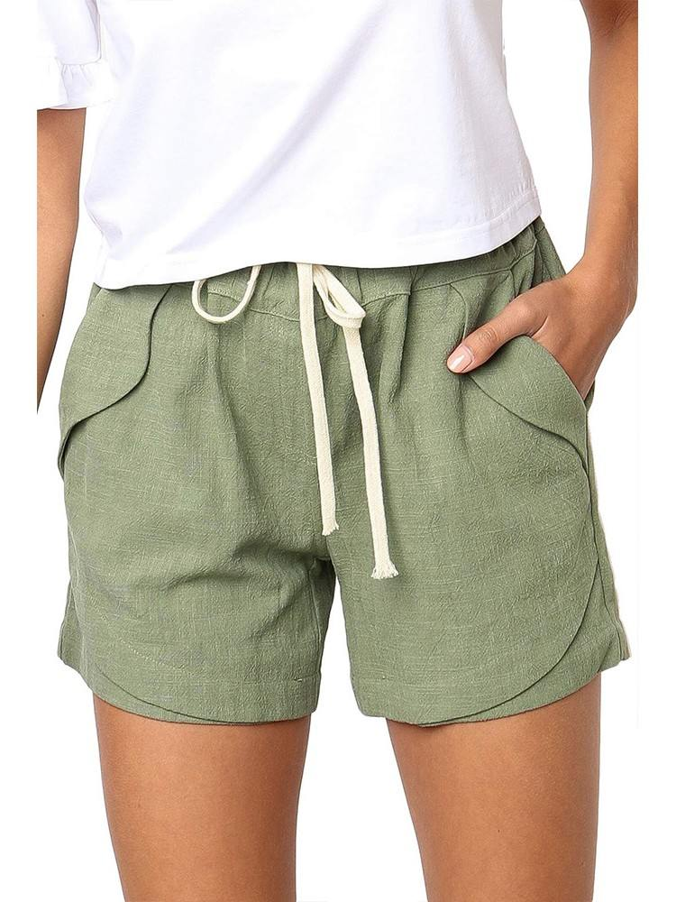 Women Summer Tied Rope High Waist Loose Shorts
