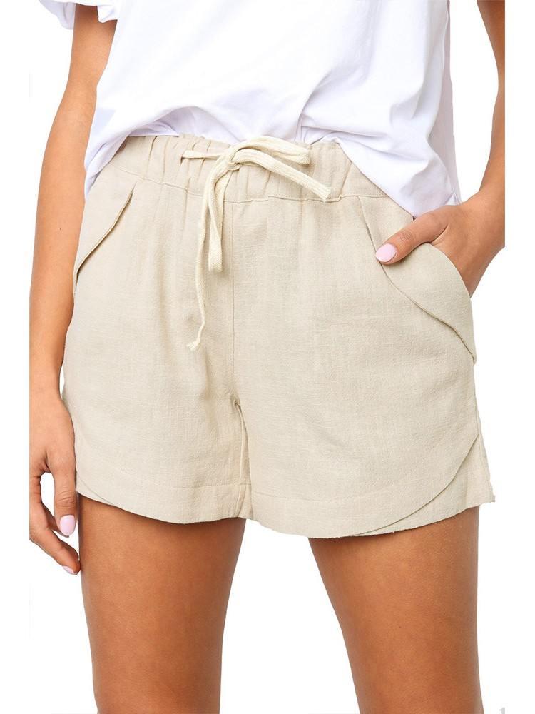 Beige Women Summer Tied Rope High Waist Loose Shorts