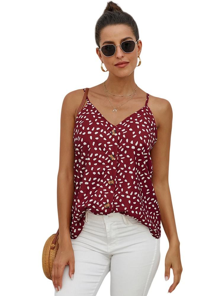 Red Single-breasted Front Button V Neck Straps Sleeveless Tank Top