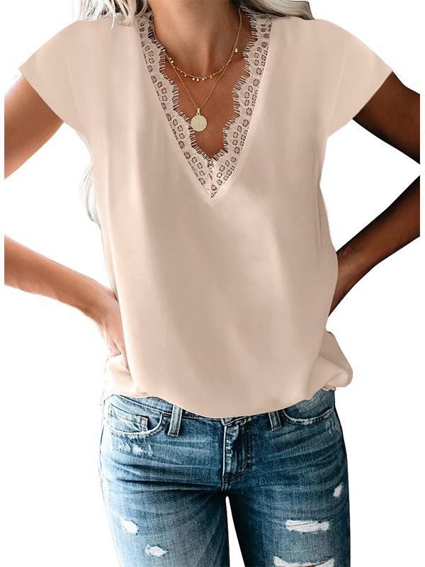 Simple Solid Color Lace V Neck Trim T-shirt