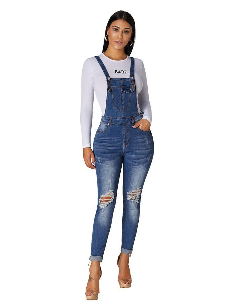 Women High Waist Denim Jumpsuit Laidback Plus Size Overalls