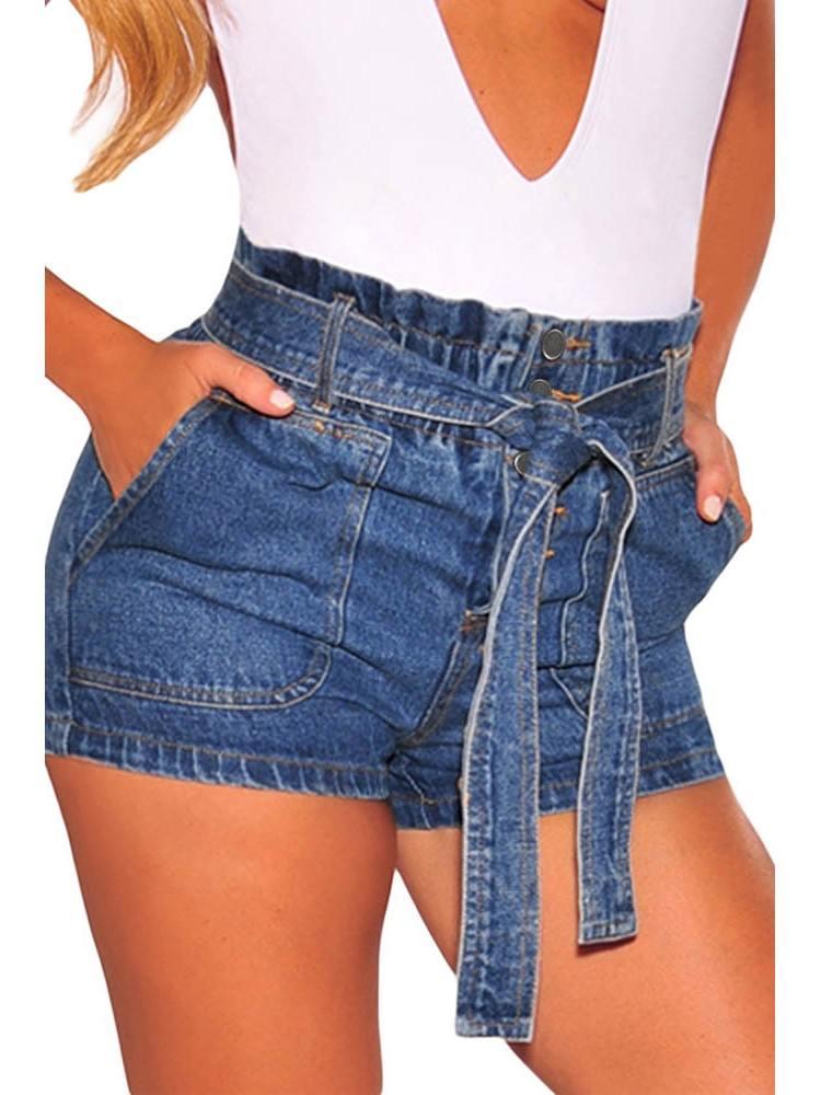 Summer Women Waist Buttoned Crimping Denim Shorts