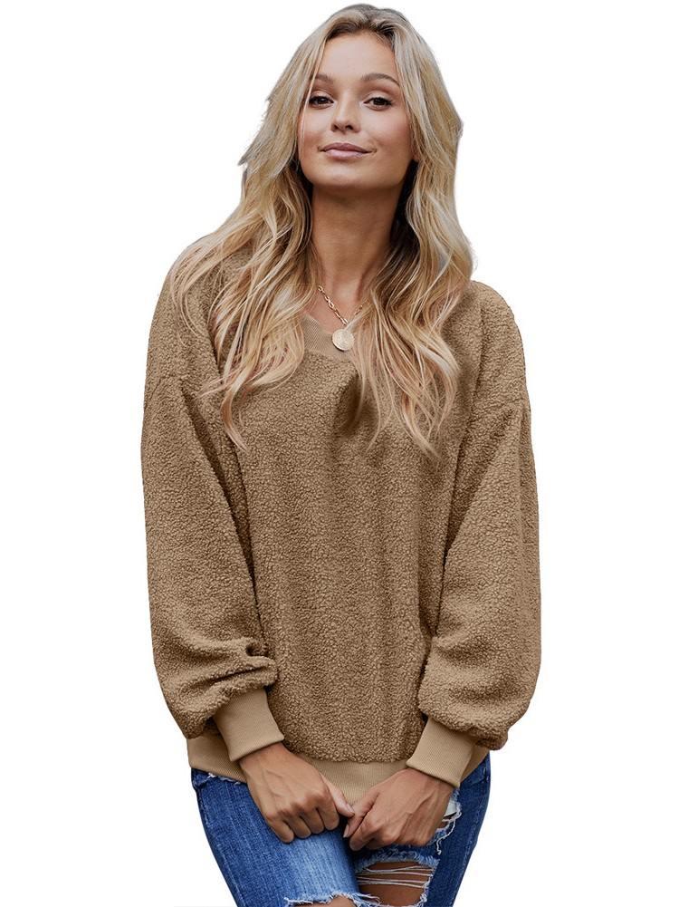 Terry Thread Cashmere Loose Long Sleeve Sweatshirt