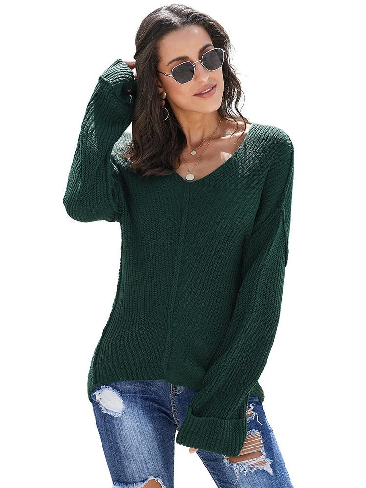 Loose KnitwearTextured V Neck Pullover Sweater