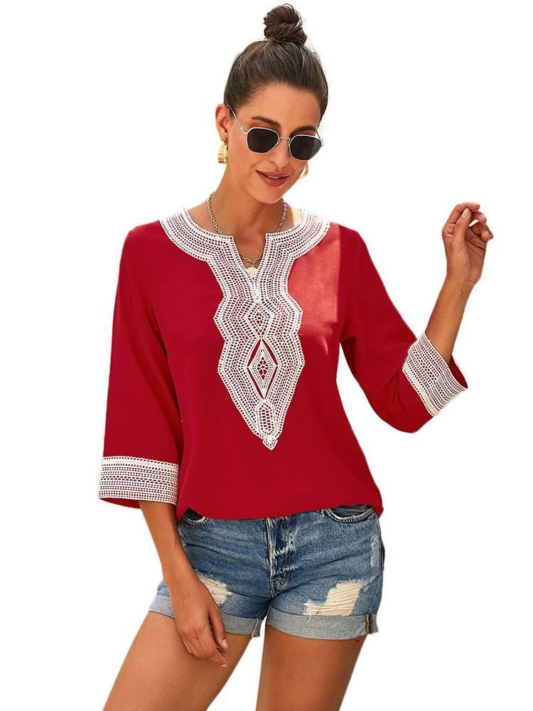 Calf-Length Sleeves Boho Embroidered V Neck Loose Blouse