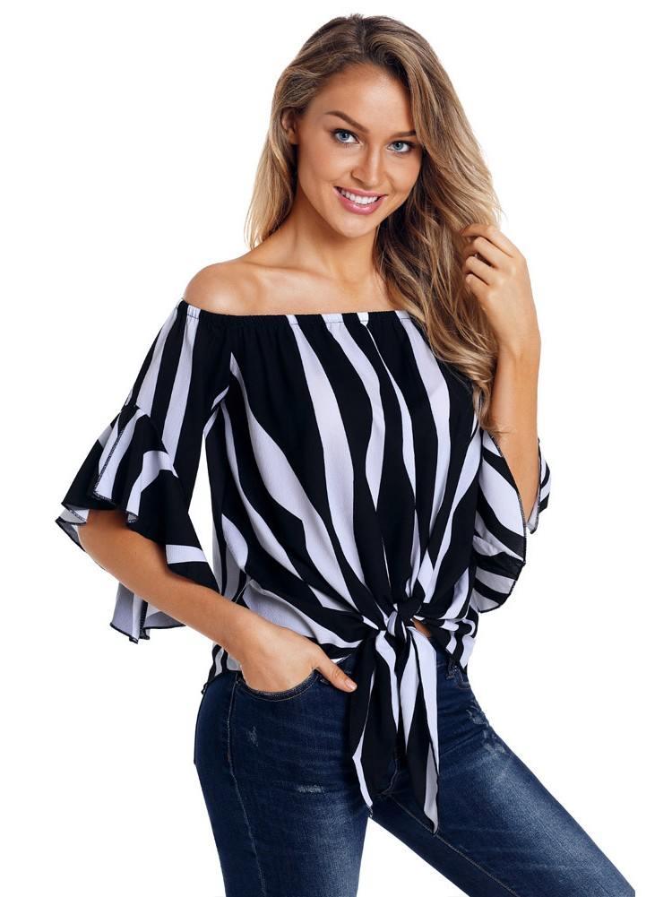 Off The Shoulder Vertical Stripes Flared Sleeve Blouse