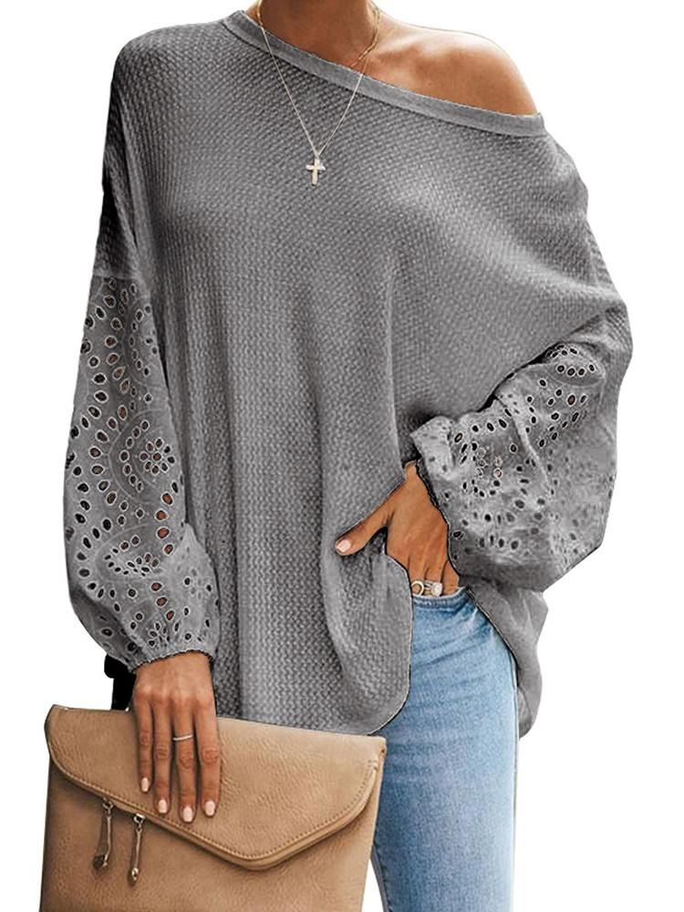 Pure Color Loose Casual Puffy Sleeve Women Top