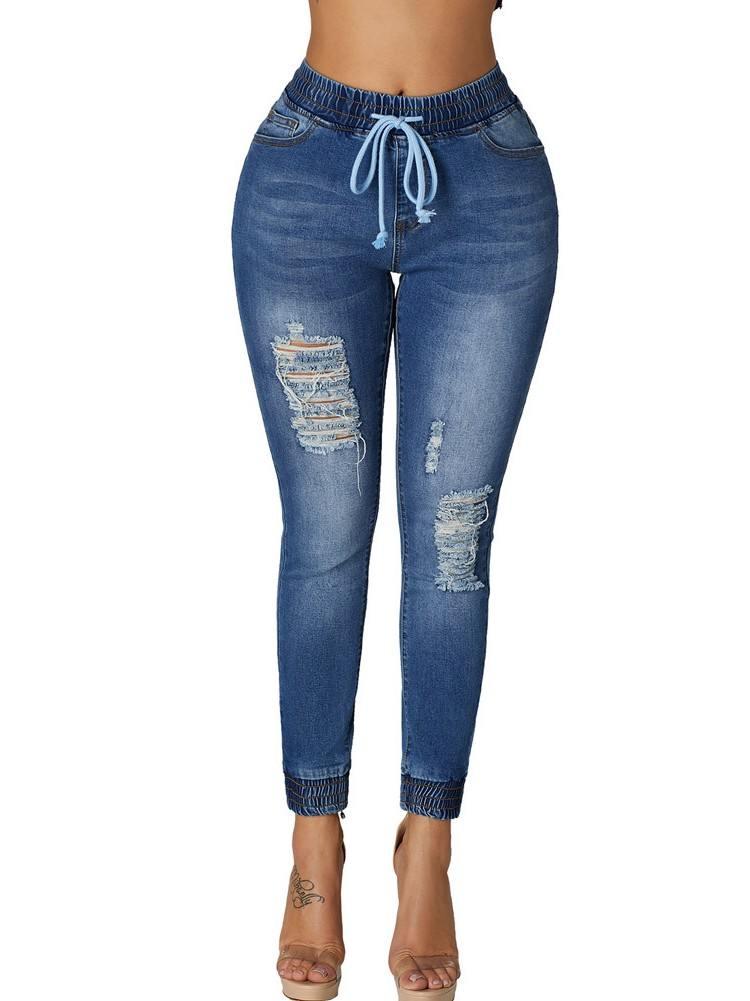 Elastic Waist Denim Mode Distressed Jogger Jeans
