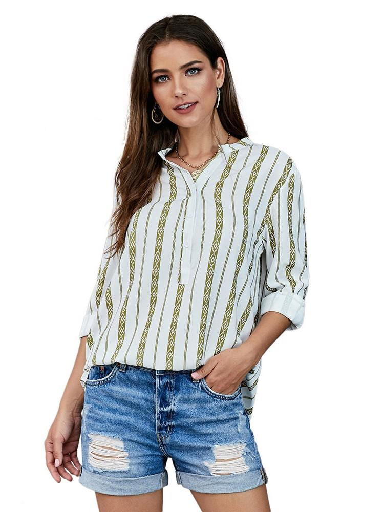 Striped Printed V Neck Button Up Blouse