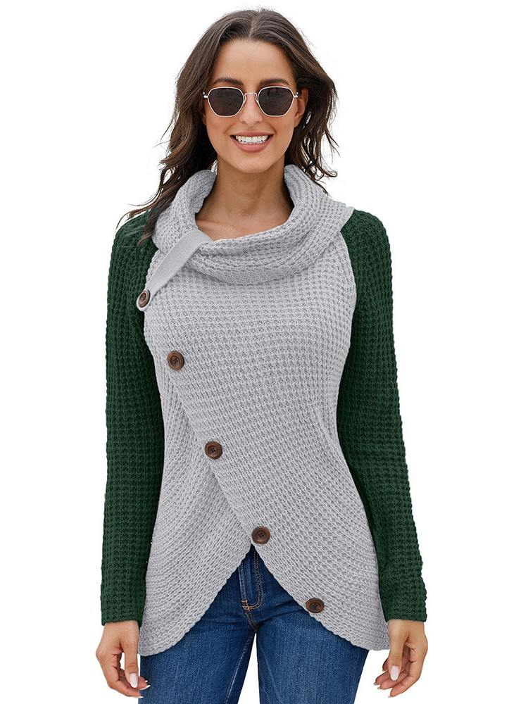 Turtleneck Cowl Neck Asymmetric Hem Wrap Sweater