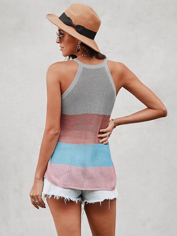 Block Striped Round Neck Knit Sleeveless Tank Top