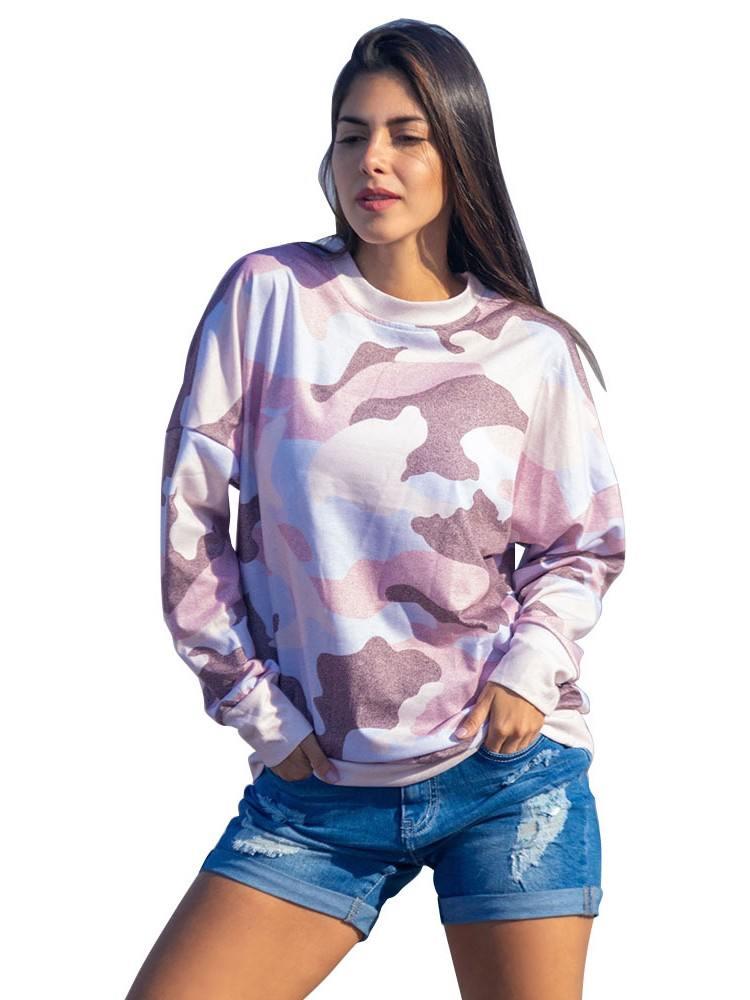 Spring Digital Camo Print Slim Plus Size Sweatshirt