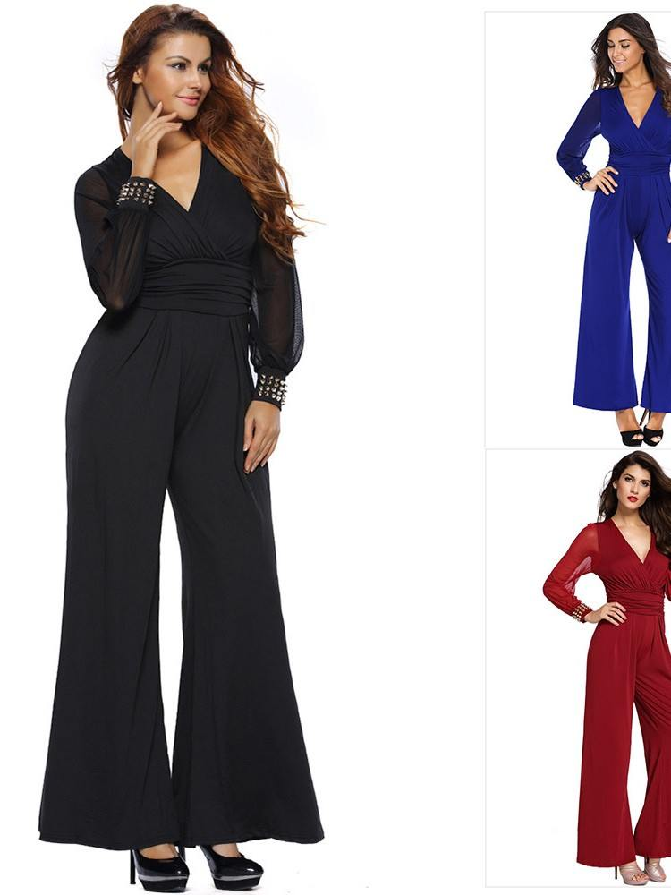 Plus Size Embellished Cuffs Long Mesh Sleeves Jumpsuit