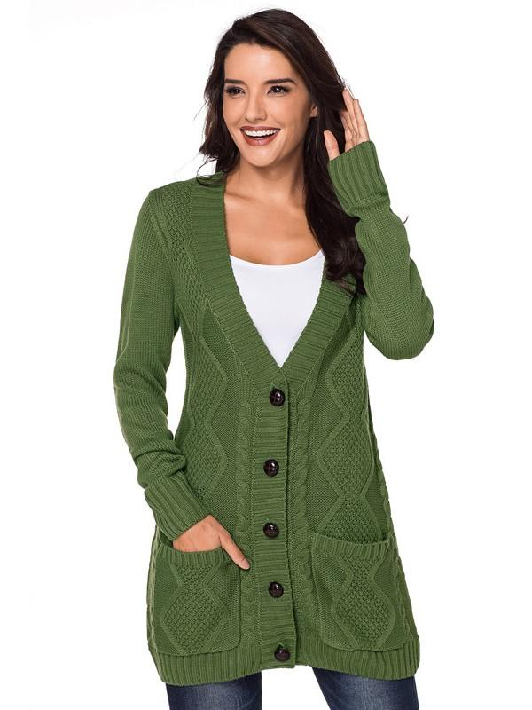 Winter Knitted Front Pocket and Buttons Closure Cardigan