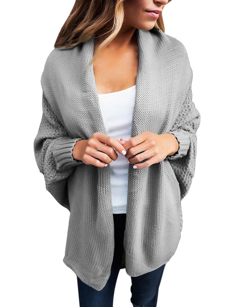 Autumn Winter Chunky Knit Open Front Dolman Long Sleeve Cardigan