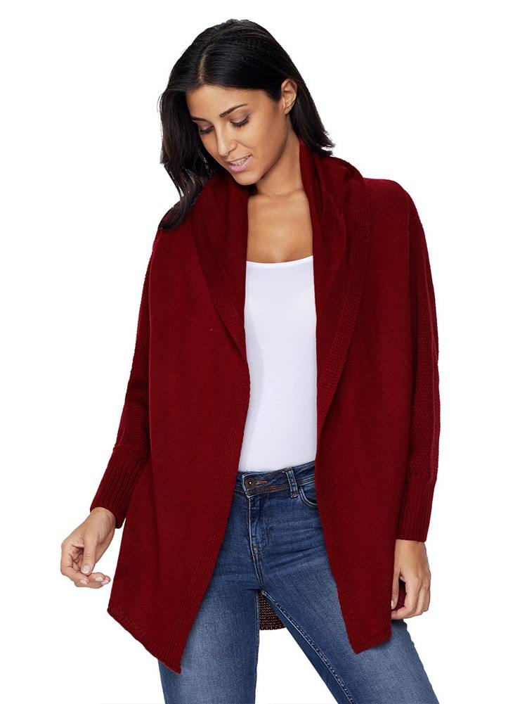 Autumn Winter Chunky Knit Open Front Dolman Long Sleeve Cardigan