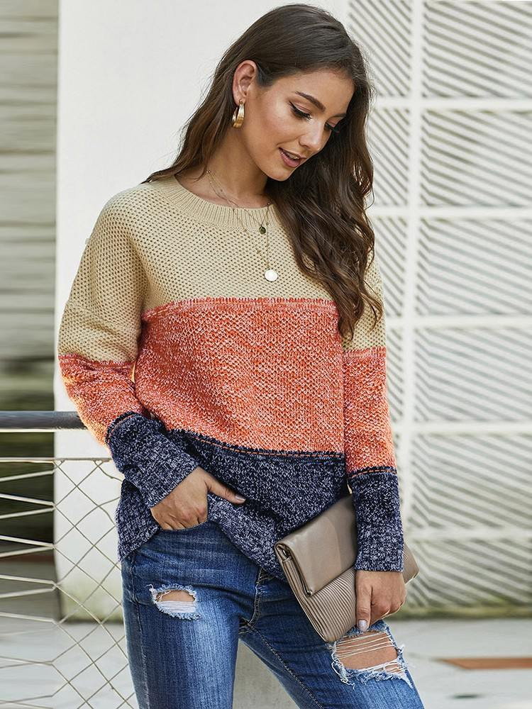 Women Autumn and Winter Block Netted Texture Three-color Stitching Pullover Sweater