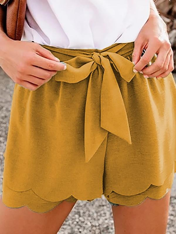 Pure Color Khaki Scalloped Tie Front Casual Shorts
