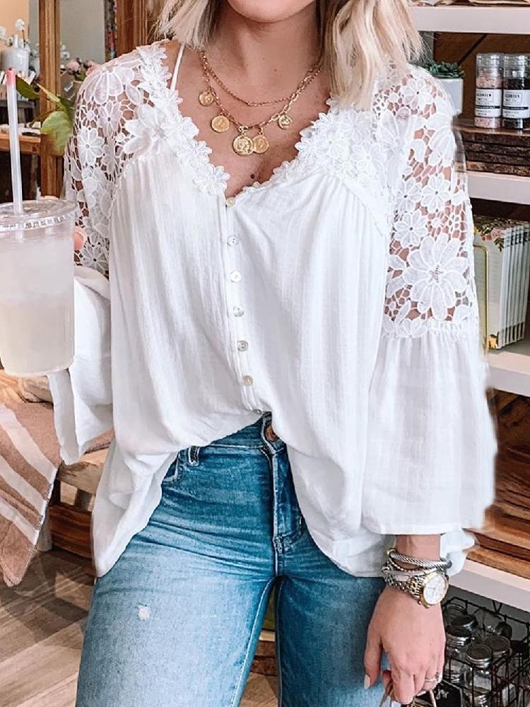 Women Stitching Crochet Lace Button Top