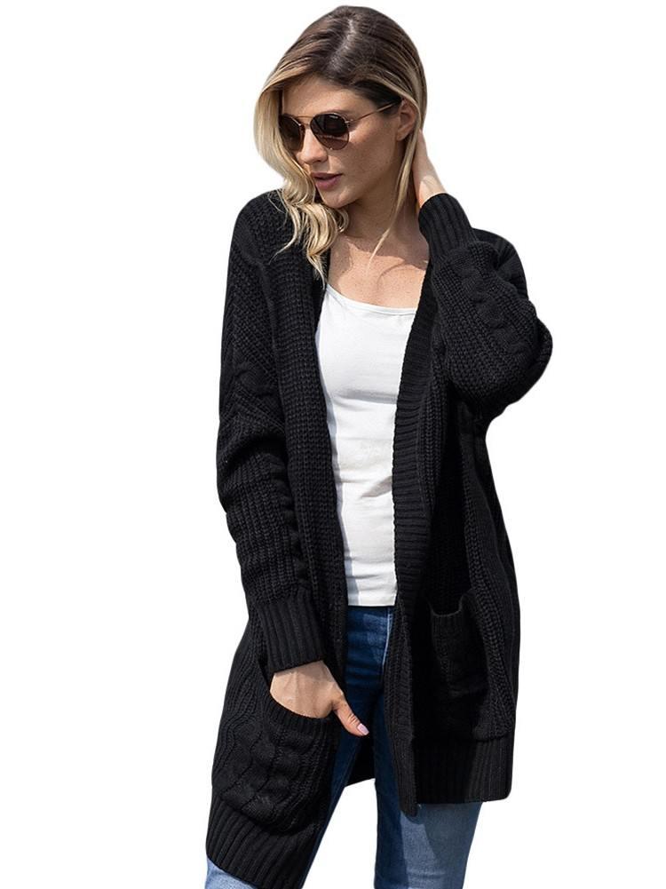 Ribbed Knit Texture Long Cardigan