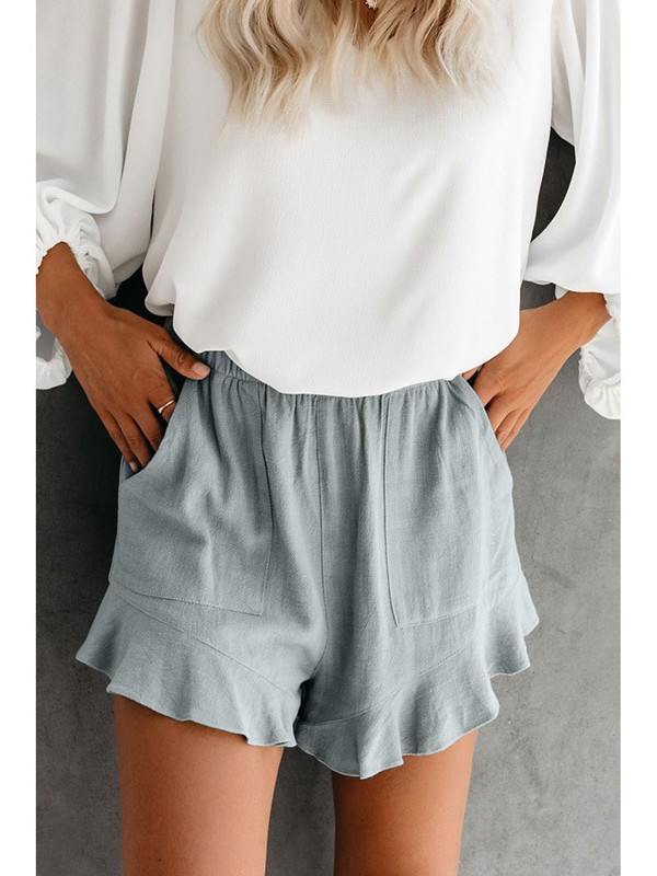 Greenish blue color Fashion Five-point Cotton Pocketed Flutter Women Shorts