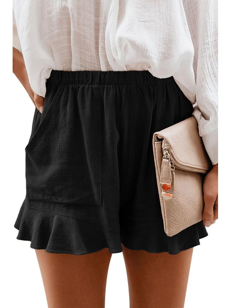 Black Fashion Five-point Cotton Pocketed Flutter Women Shorts