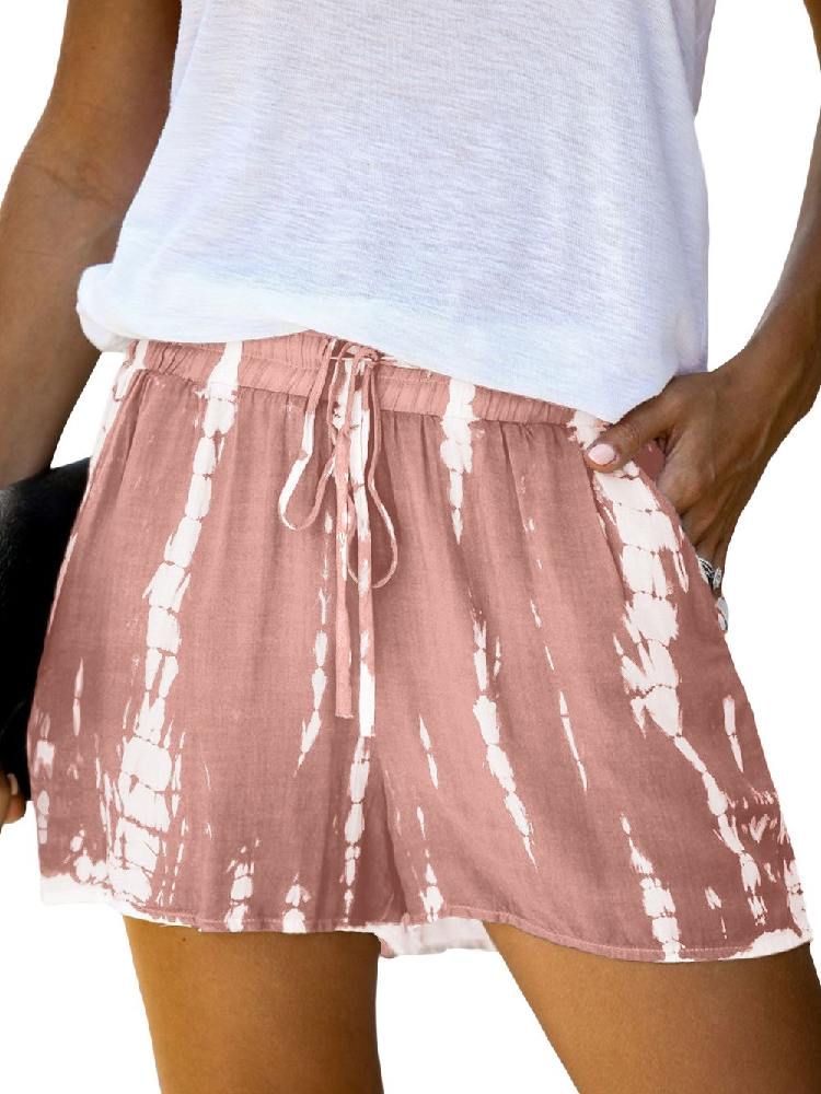 Women Casual Tie Dye Drawstring Shorts
