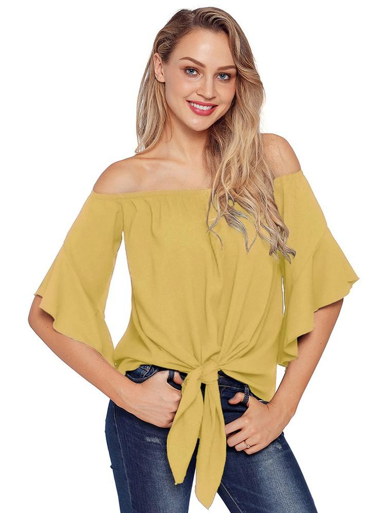 Calf-Length Sleeve Off The Shoulder Women Knot Front Top