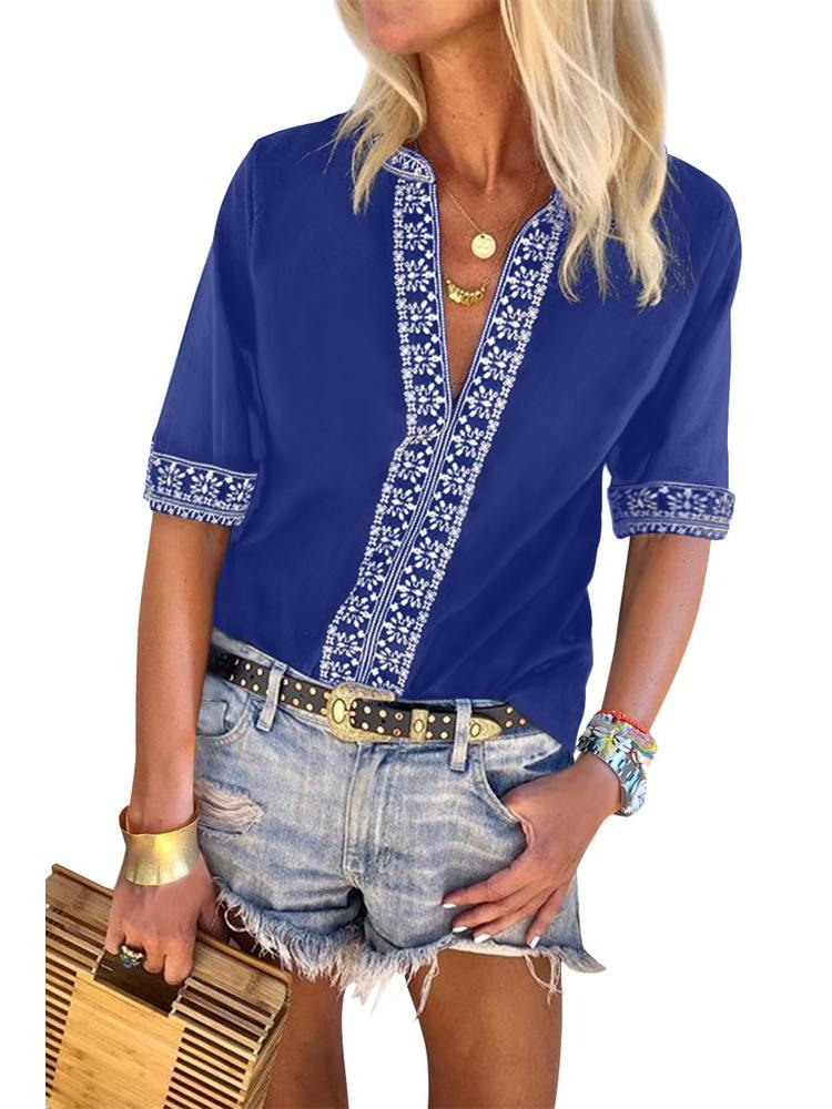 V-neck Pullover Chic Boho V Neckline Half Sleeve Blouse