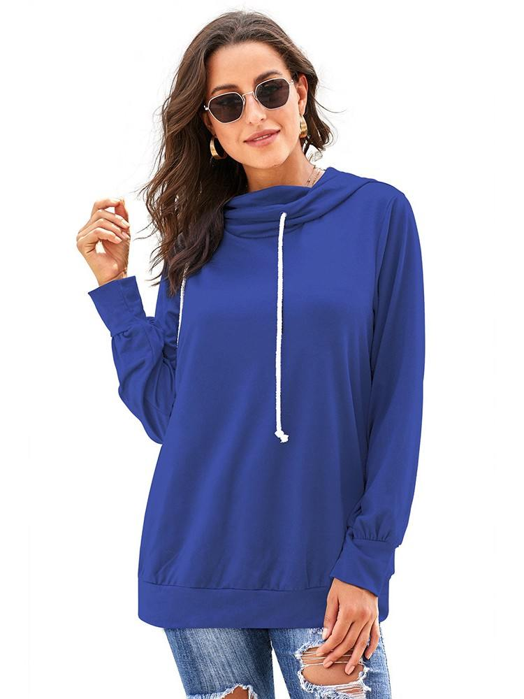 Sweater Solid Color Long Sleeve Hoodie with Rope Drawstring
