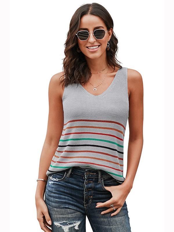 Multicolor Sleeveless Stripes Knit Women Tank Top