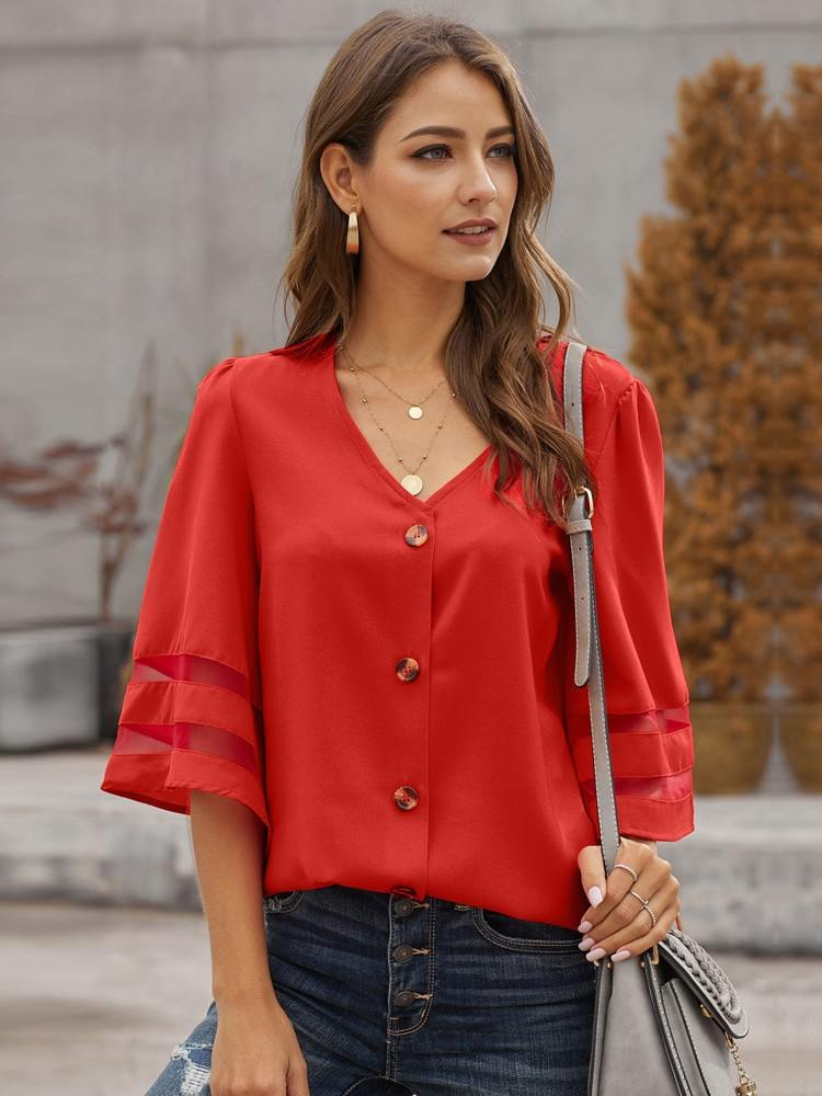 Five-point Flare Sleeve V Neck Striped Button Down Women Blouse