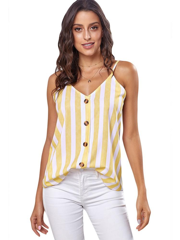 Sexy Sling Button Up V Neck Women Strappy Cami Top