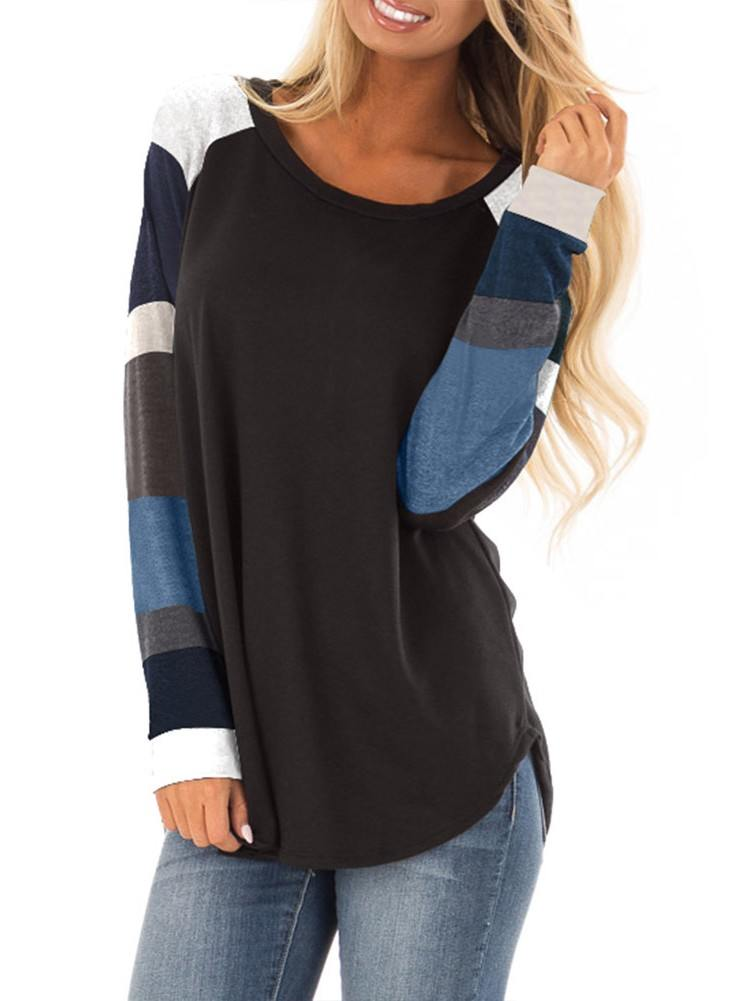Round Neck Long Sleeves Burgundy Pullover Top