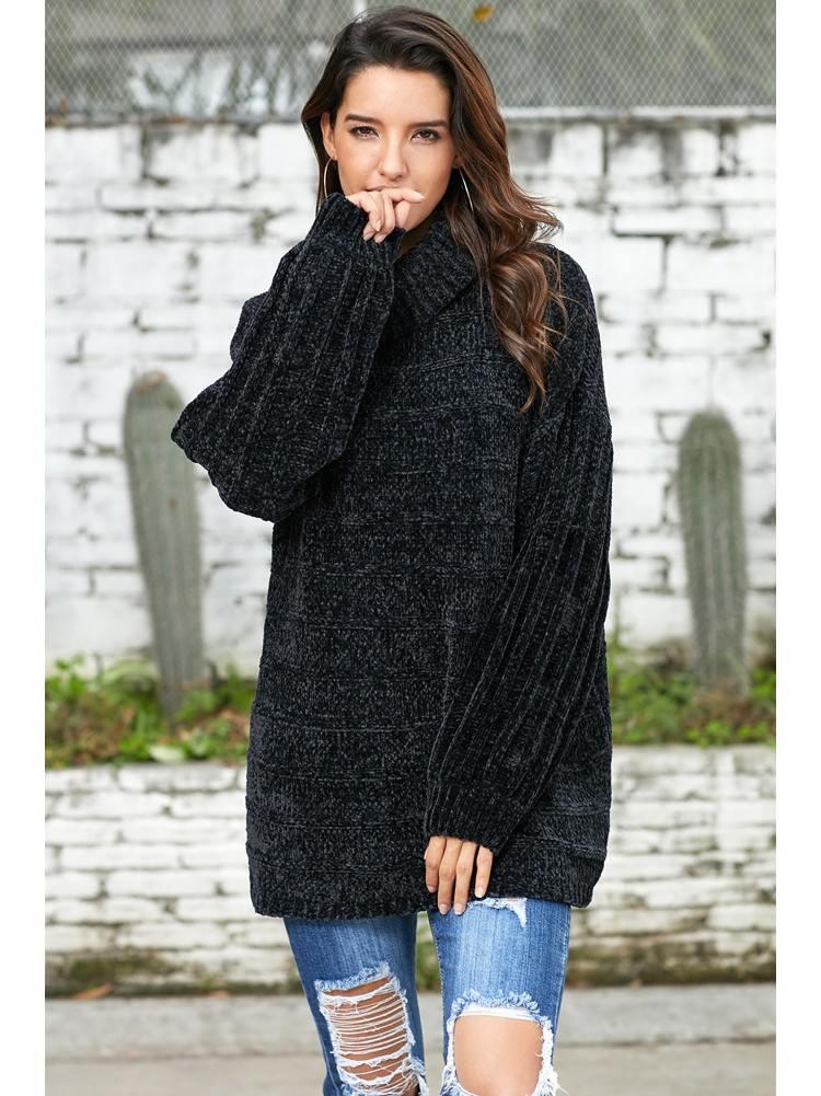 Turtleneck Sweater Soft Velvet Knit Jumper