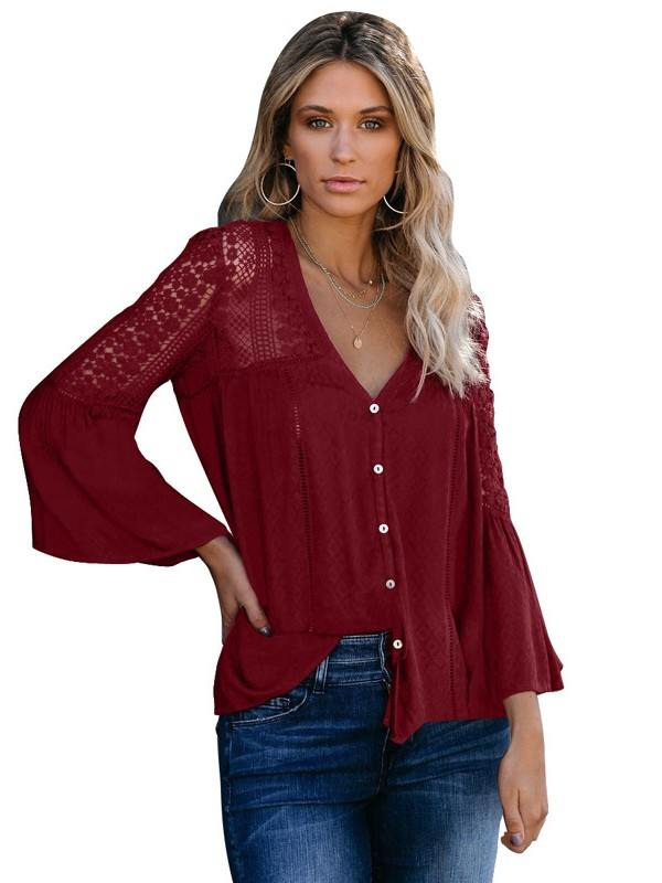 V-neck Flared Sleeve Burgundy The Du Jour Crochet Blouse