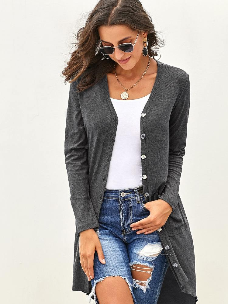 Knitted Selected Button Down Pocketed High Low Cardigan