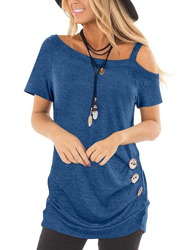Summer Sling Short Sleeve Diagonal Collar Buttoned Top