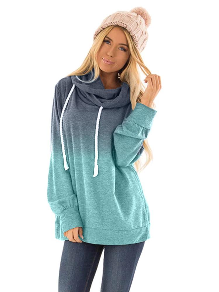 Gradient Autumn Hooded Ombre Pullover Long Sleeve Hoodie