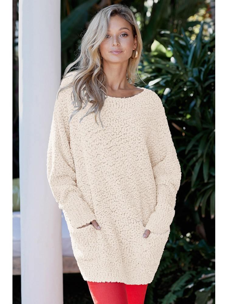 Apricot Winter Long Sleeve Mid-length Break Knit Tunic Sweater