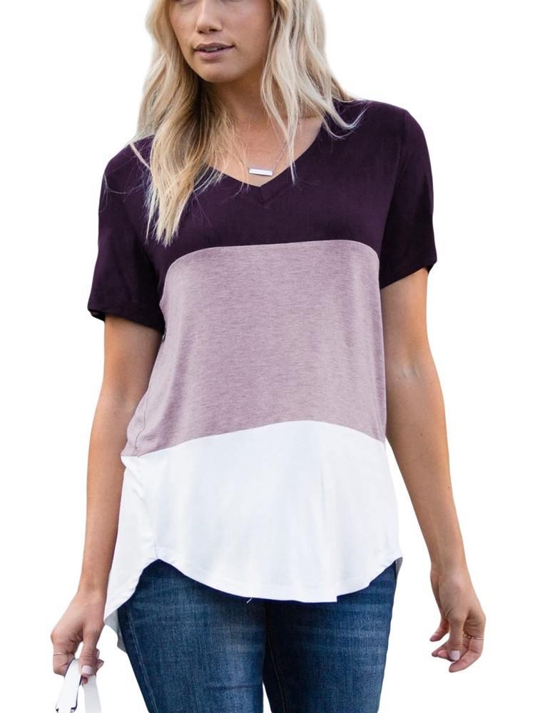 Summer Leisure Stitching Color Block V Neck T-shirt