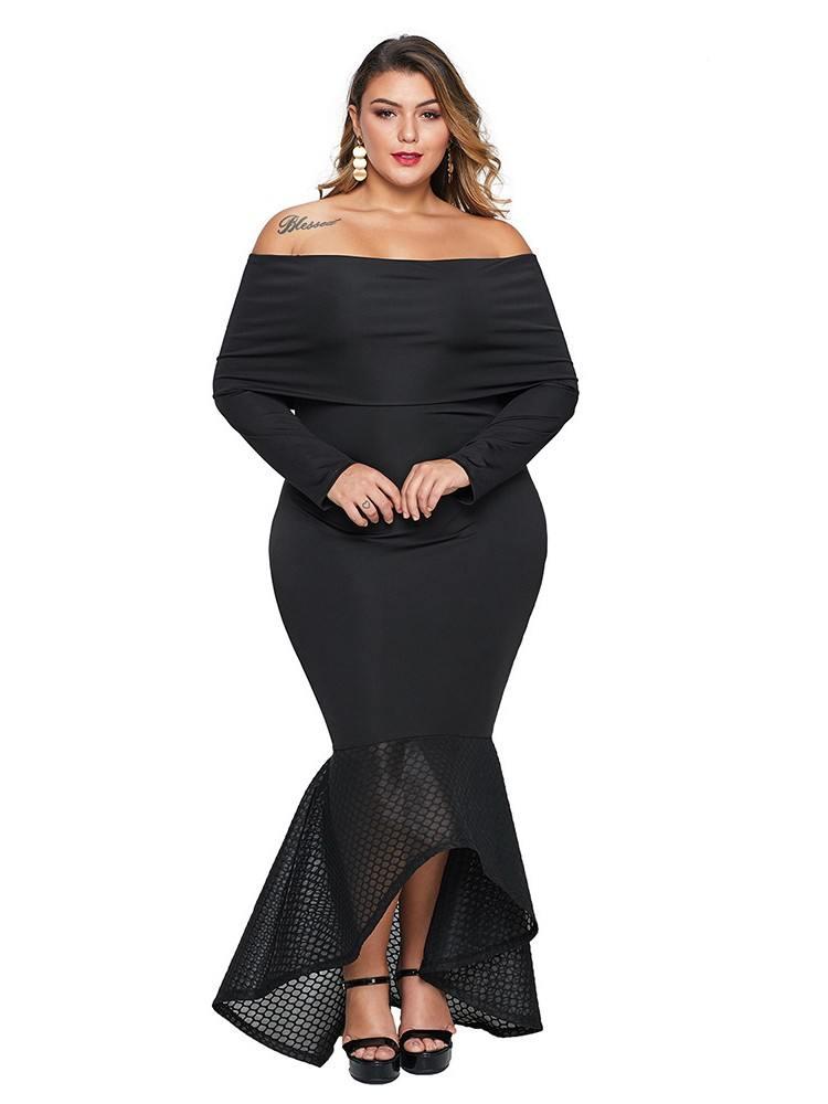 Women Overlay Off Shoulder Neckline Fishtail Plus Size Dress