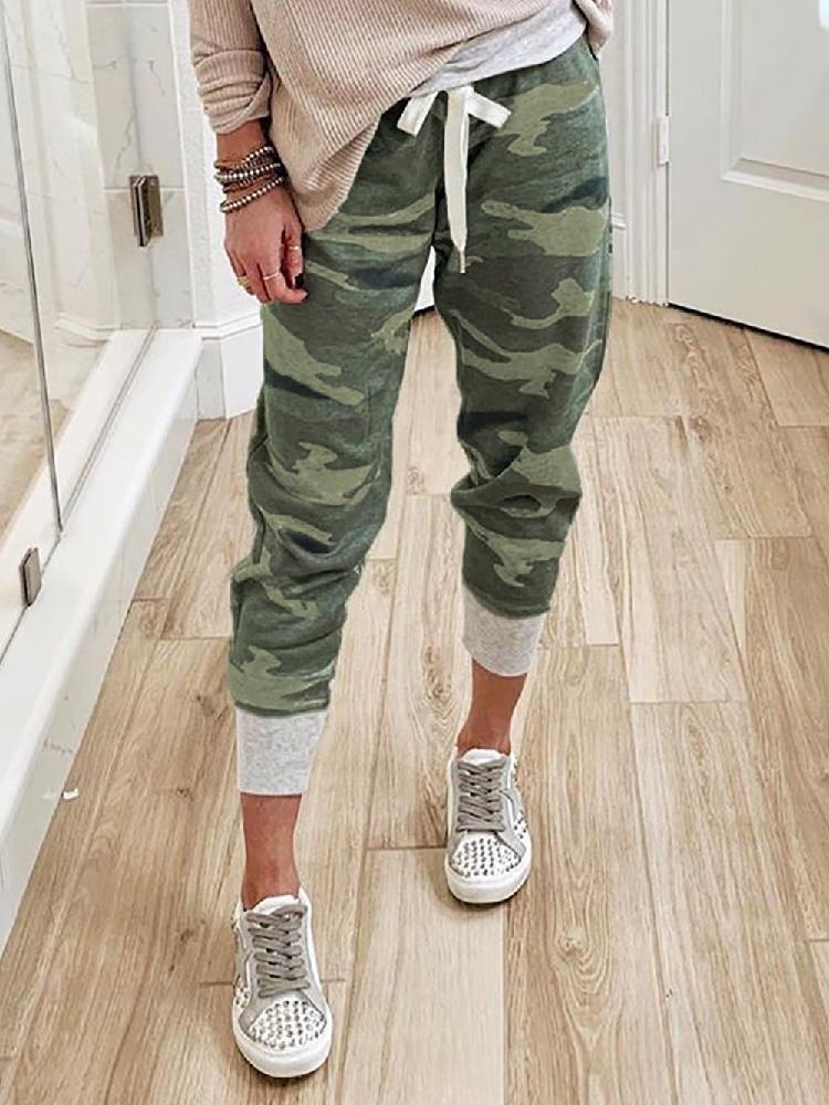 Camouflage Print Knit Sport Ancle-length Pants
