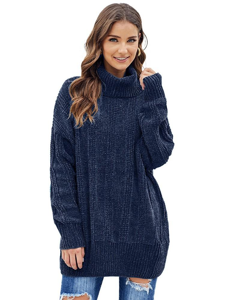 Turtleneck Soft Chenille Knit Sweater