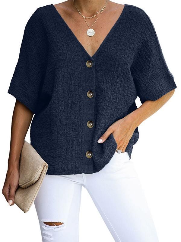 Women Sexy Soak Cotton Button V-neck Tulle Blouse Summer