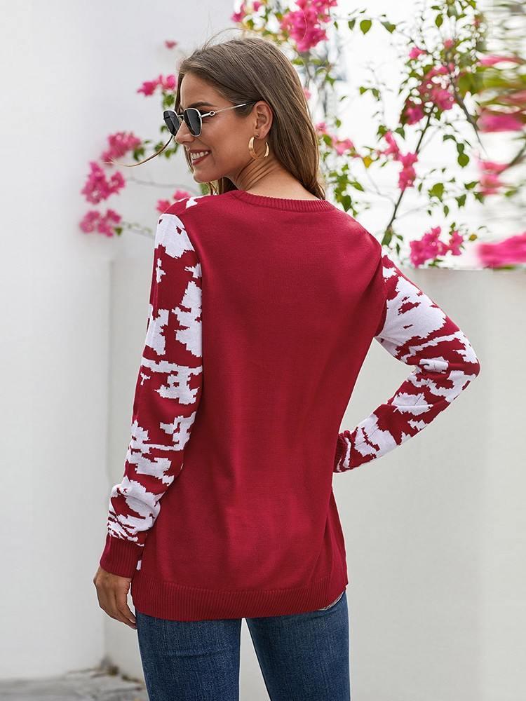Christmas Sweater Reindeer Cartoon Print Long Sleeve Knit