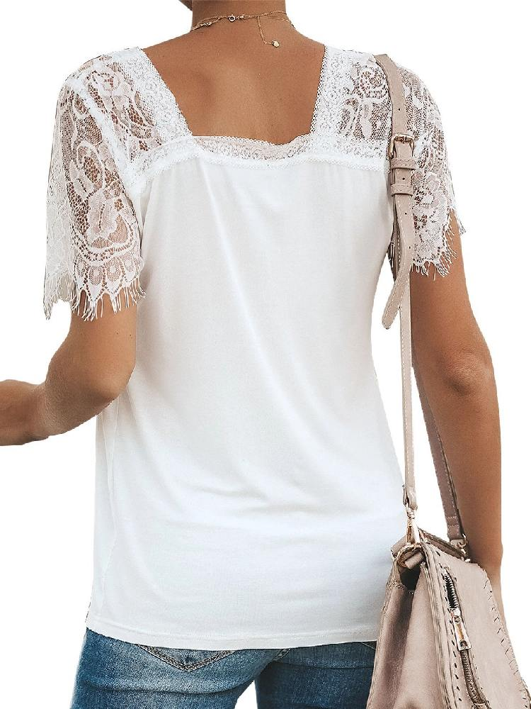 Women Short Sleeve Side Lace Stitching Cuffs Deep V Neck T-shirt