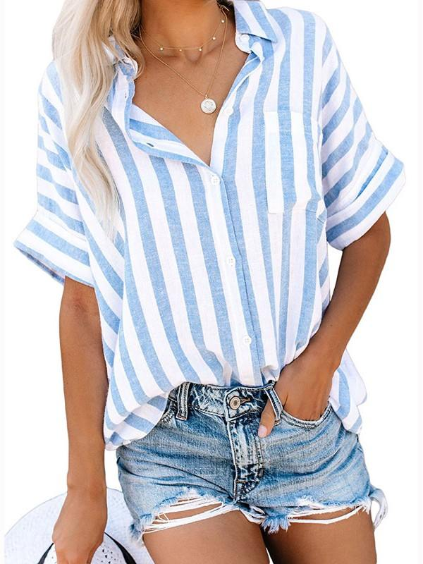 Striped V Neck Roll Up Sleeve Single-breasted Shirt