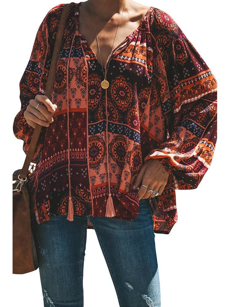 Printed Long Sleeve Peasant Blouse