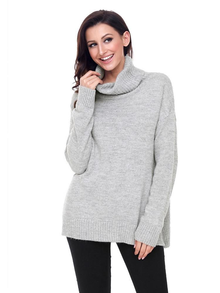 Autumn Winter Causal Knit High Neck Loose Sweater